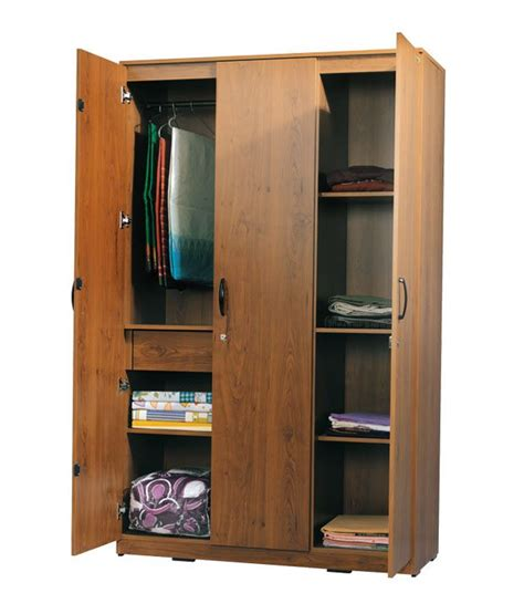 zuari wardrobe three door teak finish buy