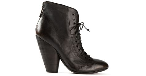 Chunky Heel Lace Up Boots mars 232 ll chunky heel lace up boots in black lyst