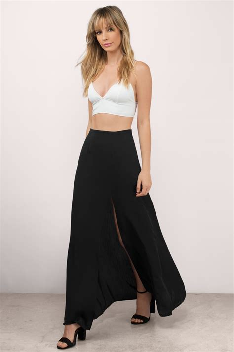 black side split maxi skirt dress ala