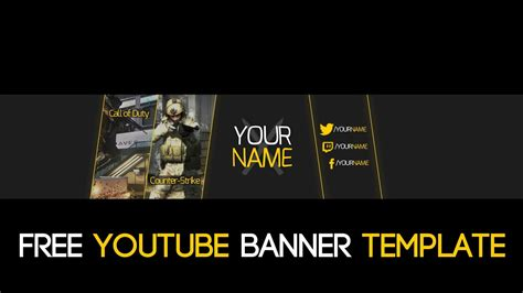 Free Gaming Simple 2d Youtube Banner Psd Template 2015 Youtube Gaming Banner Template Psd
