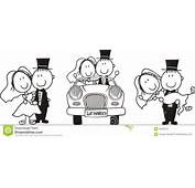 Cartoon Couple Scenes Driving A Car Carrying The Bride And