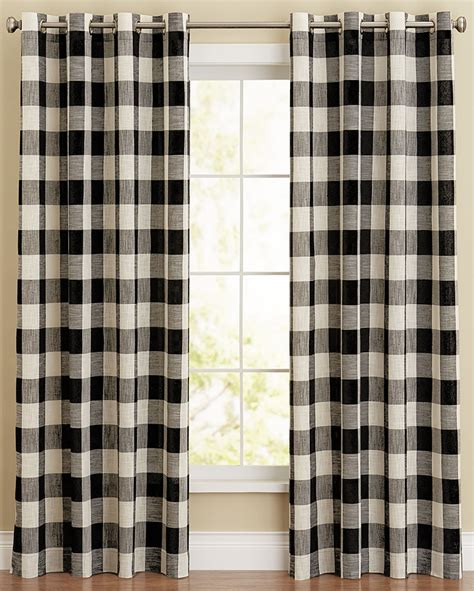 Buffalo Plaid Curtains Grommet Panel Bison Plaid Navy Lorraine Home Fashions Country Style Curtains