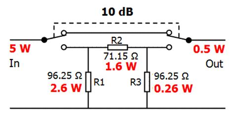 resistor nominal power pa1b power attenuator calculator including