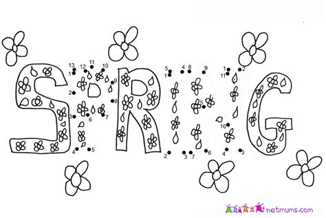 printable spring dot to dot free coloring pages of spring dots