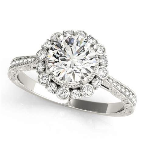 Amstrong Flower Behel Set3 flower bezel halo vintage bridal set 14k white gold 1 21ct