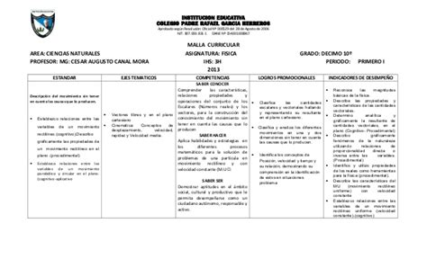 Modelo Curricular Basado En Disciplinas Malla Curricular De Fisica 10o 11o