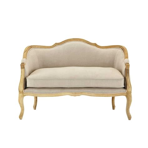 natural linen sofa 2 seater linen sofa bench in natural sissi maisons du monde