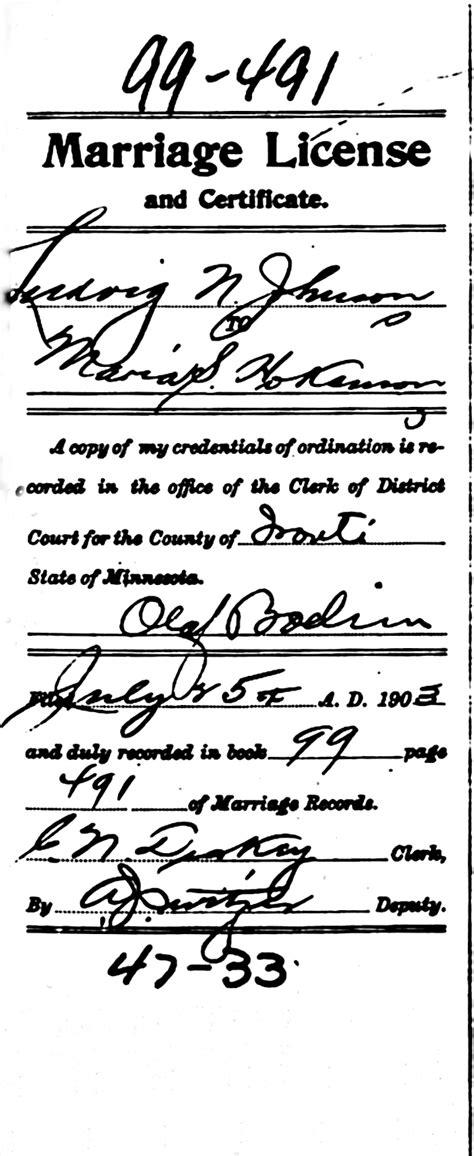 Minneapolis Marriage Records Sofia H 229 Kansson