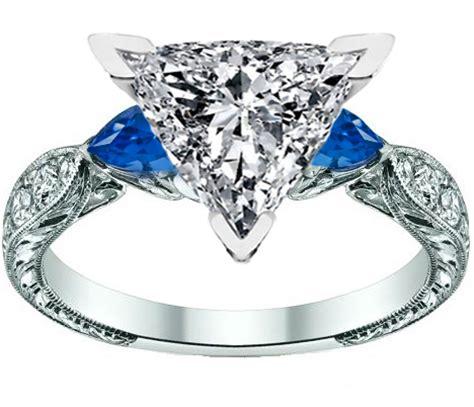 engagement ring trillion cut engagement ring blue