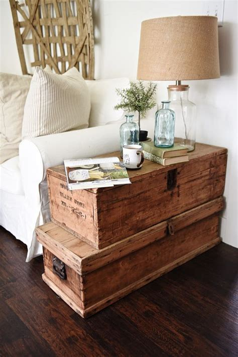 trunk style side table living room makeover stacked trunk end table style