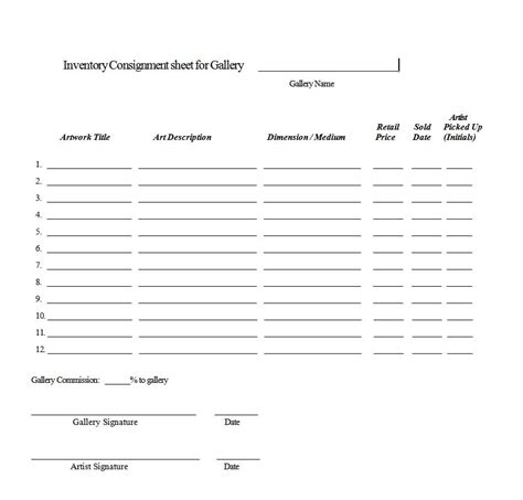 consignment inventory agreement template consignment contract crafts