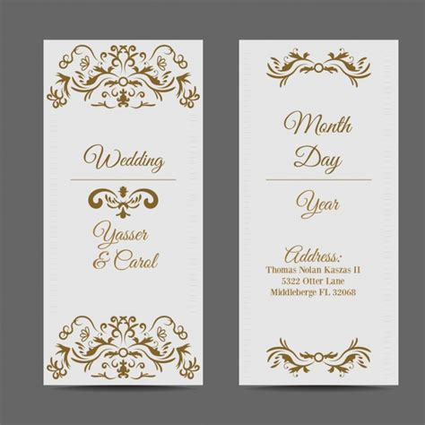 Wedding Card Ai by White Wedding Card With Golden Elements Vector Free