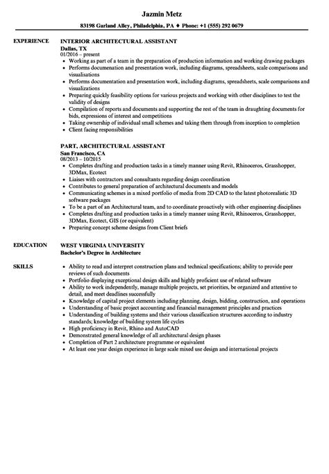 Architectural Assistant Sle Resume by Architect Assistant Sle Resume Student Assistant Sle Resume Engineer Cover Letter
