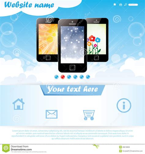 draggable card website template modern website template for mobile company stock vector