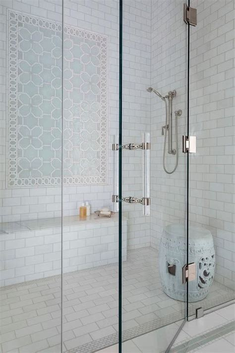 shower accent tile blue geometric shower accent tiles with bench