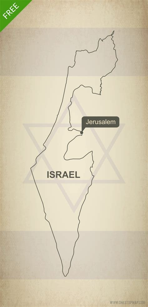 Free Outline Map Of Israel by Free Vector Map Of Israel Outline One Stop Map