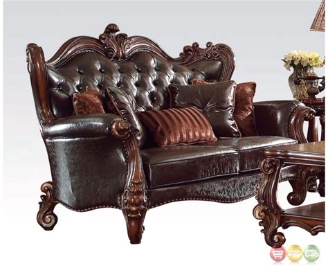 Versailles Formal Dark Brown Faux Leather Sofa And