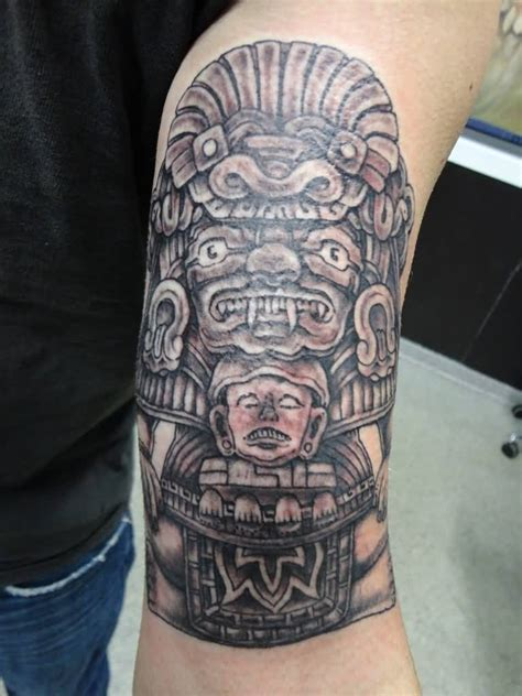 mayan tattoo realistic grey mayan on left shoulder