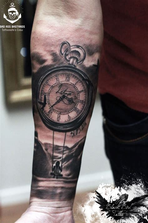 clock sleeve tattoo mountain clock tat ideas clocks