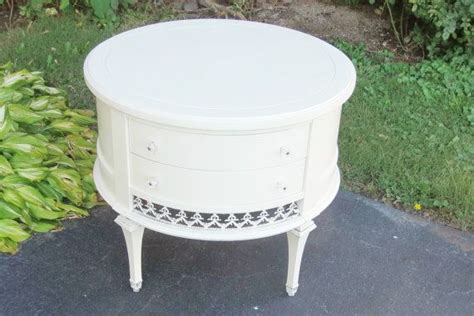white round end table with drawer vintage two drawer white round side table
