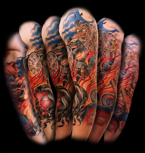 colored moto tattoo on sleeve design of tattoosdesign of