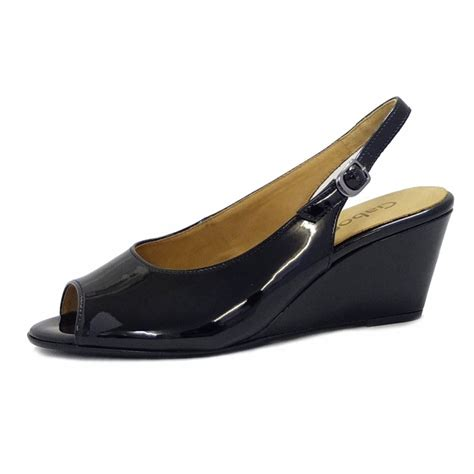Wedges Sleting Black gabor shoes betti slingback low wedge heels in black mozimo