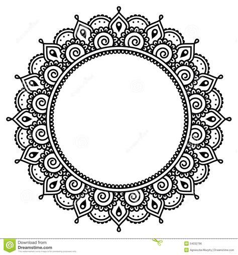 black and white round pattern mehndi indian henna tattoo round pattern stock