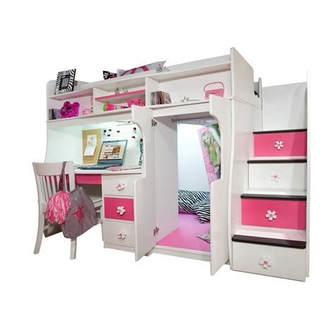 girls bunk beds with storage play study loft bed w storage stairs so cute would