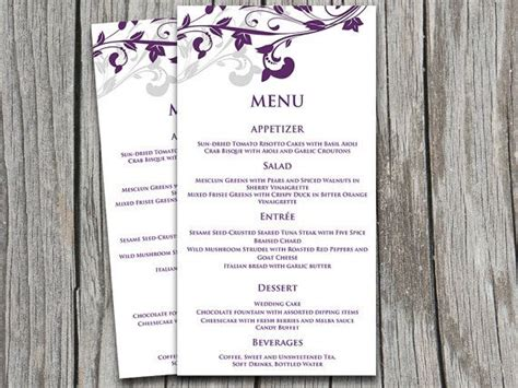 wedding menu templates for microsoft word wedding menu card microsoft word template whimsical