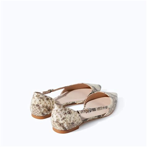 snakeskin flat shoes zara pointed snakeskin flat shoes in lyst