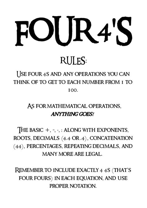 The four fours game - Directions