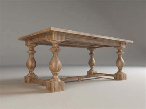 17th c monastery dining table free 3d model max fbx