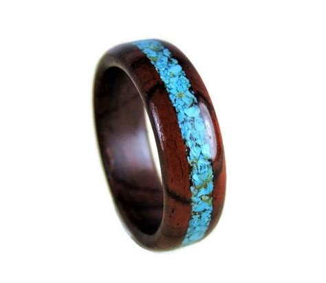 wood ring cocobolo and turquoise ring turquoise ring