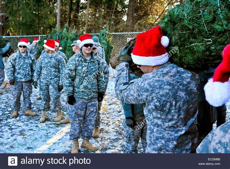 us army soldiers wearing santa hats unload christmas trees