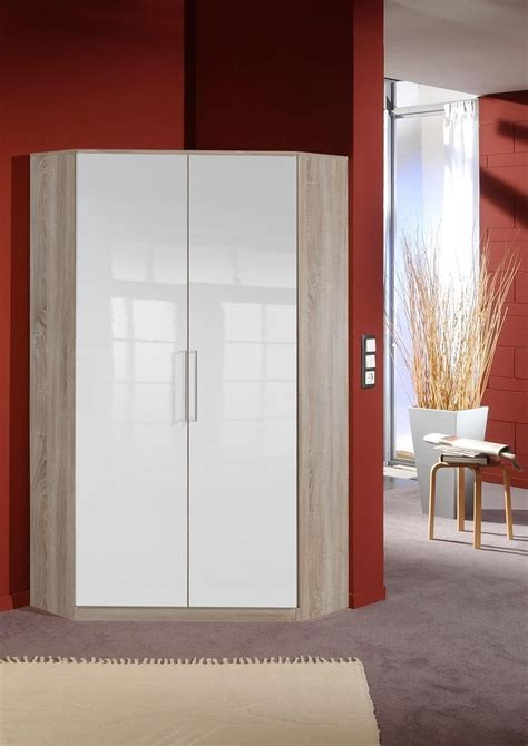 Corona Corner Wardrobe by German 2 Door White Gloss Oak Corner Wardrobe With
