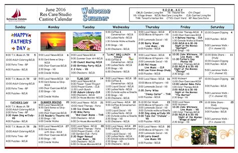 activity calendar june 2016 schooner estates activity calendars
