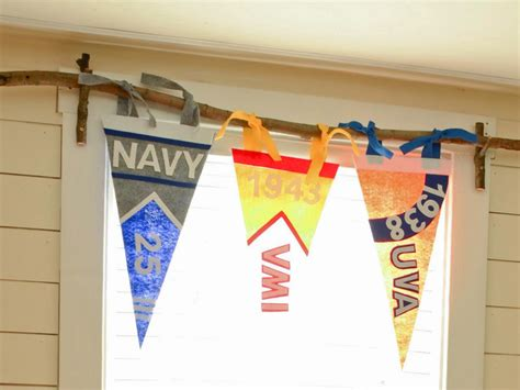 pennant curtains make a vintage inspired pennant banner valance hgtv