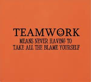 Pink Gold And White Bedroom - teamwork means never having to take all the blame yourself funny teamwork wall quotes words