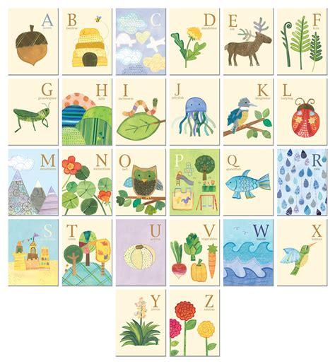 wall cards nature s alphabet 26 illustrated wall cards by
