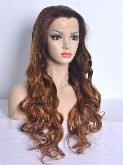 waist length ombre black ombre brown waist length wavy synthetic lace wig