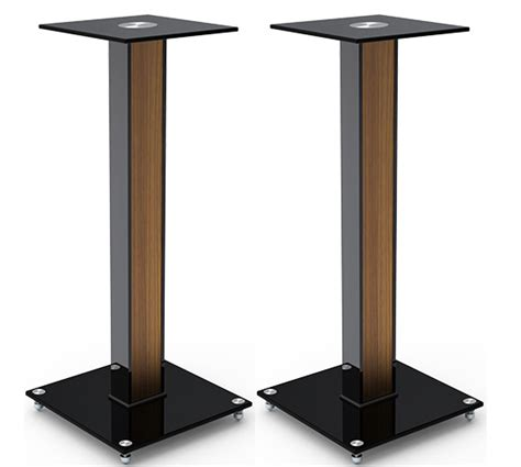 aluminum glass and wood bookshelf speaker stand 23 6 with