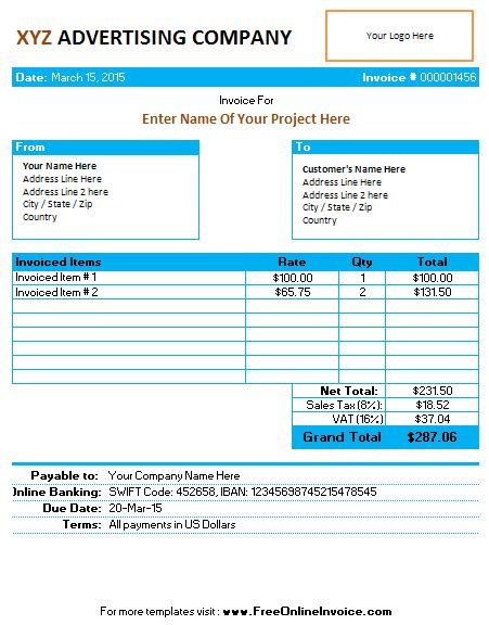 marketing invoice template retaining a search engine marketing consultant richie