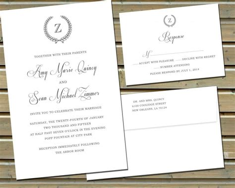 Cotton Paper Wedding Invitations by Classic Monogram Wedding Invitations And Reply Cards On