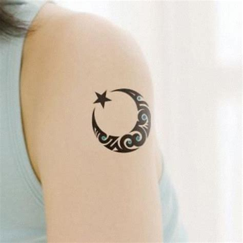 star and moon tattoo moon and shoulder arm beautifully tattooed