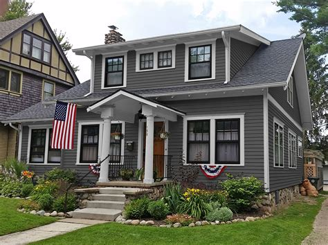 houses painted gray diy idea for old suitcase black windows white trim and gray