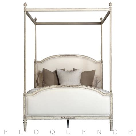 white queen canopy bed eloquence dauphine queen canopy bed in weathered white