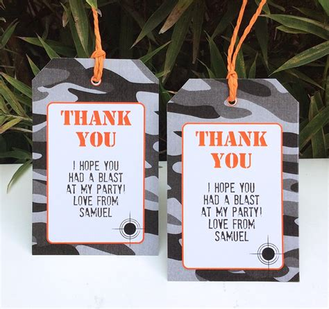 thank you card template for birthday giveaways nerf birthday printable templates nerf theme