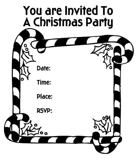 invitation card coloring page christmas party invitation candy canes coloring page