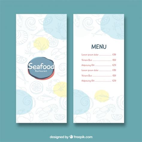 seafood menu templates seafood restaurant menu template vector free