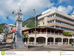Exotic House Plans Clock Tower In Victoria Mahe Seychelles Stock Photo